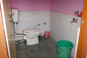 ttached Clean western style toilet and bath